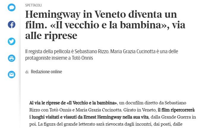 Hemingway in Veneto diventa un film